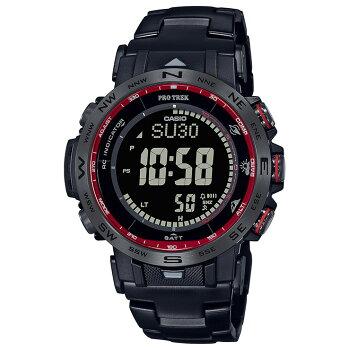 [発売日に出荷できます!]カシオプロトレック電波ソーラートリプルセンサーミッドサイズファイヤー・フォールモチーフブラックPRW-30YT-1JFCASIOPROTREK炎の滝クライマーラインデジタルSTN液晶黒メンズレディス男女兼用腕時計(PRW30YT1JF)