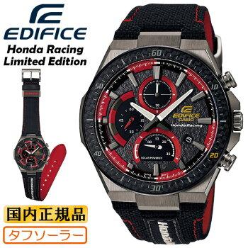 [発売日に出荷できます!]カシオエディフィスソーラーホンダレーシングコラボブラック&レッドEFS-560HR-1AJRCASIOEDIFICEHONDARacingLimitedEditionレザーバンドアナログクロノグラフメンズ腕時計(EFS560HR1AJR)