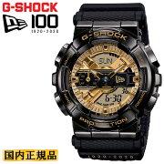 [発売日に出荷できます!]カシオGショックニューエラ100周年記念コラボメタルカバードゴールド&ブラックGM-110NE-1AJRCASIOG-SHOCKNEWERAバイザーステッカーモチーフデジタル&アナログコンビネーション黒金色メンズ腕時計(GM110NE1AJR)