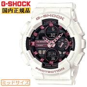 カシオGショックミッドサイズホワイト&ピンク&ブラックGMA-S140M-7AJFCASIOG-SHOCKデジタル&アナログコンビネーションミドルサイズメンズレディスレディースボーイズユニセックス男女兼用サイズ黒白腕時計(GMAS140M7AJF)