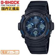 [正規品]カシオGショック電波ソーラー限定ファイアー・パッケージ2021年モデルブラック&ブルーAWG-M100SF-1A2JRCSAIOG-SHOCKFirePackage'21デジタル&アナログコンビネーション黒メンズ腕時計(AWGM100SF1A2JR)