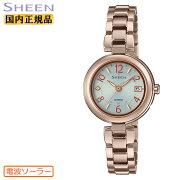 正規品カシオシーン電波ソーラーチタン軽量ピーチゴールドSHW-7100TCG-7AJFCASIOSHEENアナログラウンド金色レディスレディース腕時計(SHW7100TCG7AJF)