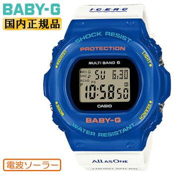 正規品カシオベビーGイルカクジラ2021電波ソーラーブルー&ホワイトBGD-5700UK-2JRCASIOBABY-Gイルクジデジタル丸型ラウンド白青レディスレディース腕時計(BGD5700UK2JR)