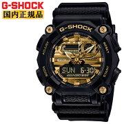 正規品カシオGショックブラック&ゴールドGA-900AG-1AJFCASOG-SHOCK工業デザインモチーフヘビーデューティーデジタル&アナログコンビネーション黒金色メンズ腕時計(GA900AG1AJF)