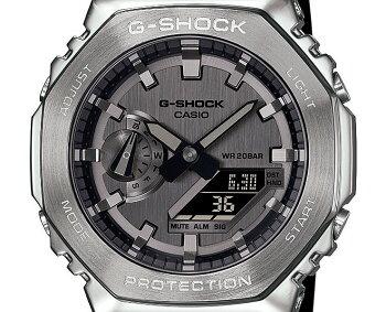 正規品カシオGショックメタルカバードシルバー&ブラックGM-2100-1AJFCASIOG-SHOCKオクタゴン八角形カーボンコアガード構造デジタル&アナログコンビネーション銀色黒メンズCasiOakカシオーク腕時計(GM21001AJF)