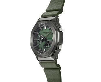 正規品カシオGショックメタルカバードダークグレー&グリーンGM-2100B-3AJFCASIOG-SHOCKオクタゴン八角形カーボンコアガード構造デジタル&アナログコンビネーション灰色緑メンズCasiOakカシオーク腕時計(GM2100B3AJF)