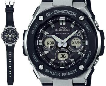 G-SHOCK電波ソーラーG-STEELミドルサイズGST-W300-1AJFCASIOGショックタフソーラー電波時計アナログ&デジタルウレタンバンドブラック&シルバー黒銀メンズ腕時計