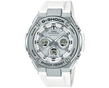 G-SHOCK電波ソーラーG-STEELミドルサイズGST-W310-7AJFCASIOGショックタフソーラー電波時計アナログ&デジタルウレタンバンドシルバー&ホワイト銀白メンズ腕時計