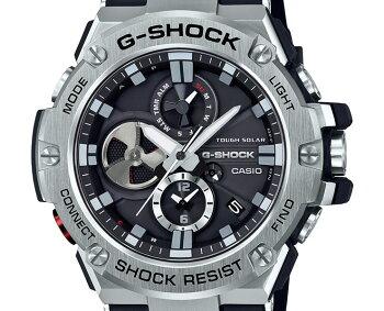 G-SHOCKソーラースマートフォンリンクG-STEELGST-B100-1AJFCASIOGショックタフソーラーBluetoothモバイルリンク機能クロノグラフアナログウレタンバンドブラック&シルバー黒銀メンズ腕時計