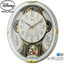 【ディズニー からくり 電波 時計】 ミッキー&フレンズ M509 4MN509MC03 ステップ秒針 夜眠る秒針 メロディ スワロフ…