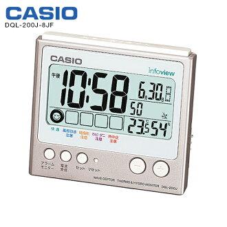 有DQL-200J-8JF电波钟表卡西欧钟表全面自动日历温、湿度计的电波钟表座钟LED灯