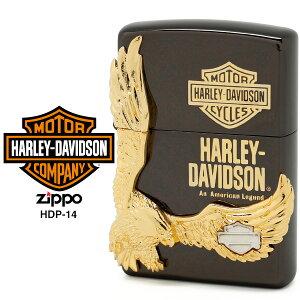 【Harley Davidson ハーレー ダビッドソン】 Zippo ハーレー ダビッドソン ジッポー ZIPPO Harley-Davidson HDP-14 ブラックイオンメッキ 片面エッチング ゴールド&シルバーダブルメタル ライター 【在庫あ