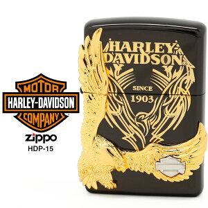 【Harley Davidson ハーレー ダビッドソン】 Zippo ハーレー ダビッドソン ジッポー ZIPPO Harley-Davidson HDP-15 ブラックイオンメッキ 片面エッチング ゴールド&シルバーダブルメタル ライター 【お取り