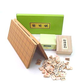 木製将棋盤セット 安価で手軽な 新桂5号折将棋盤と国産上別製源平将棋駒