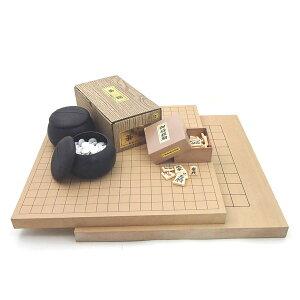 囲碁盤・将棋盤セット 1面で楽しめる 新桂10号卓上接合碁盤・将棋盤とP碁笥・碁石普及セットにP製駒歩心(裏赤)