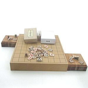 木製将棋セット 新桂2寸卓上接合将棋盤と楓漆書将棋駒に駒台付