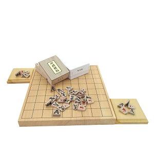 木製将棋セット 芳香と明るい色目の桧(ヒノキ)1寸卓上接合将棋盤と楓漆書き将棋駒(裏赤)に駒台付