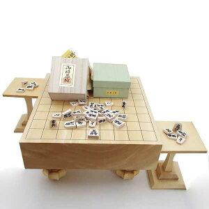 木製将棋盤セット ヒバ3寸足付一枚板将棋盤と白椿上彫駒将棋駒に駒台付