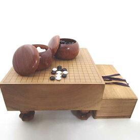 中古品囲碁セット 桂五寸足付碁盤と木製碁笥特大と蛤碁石