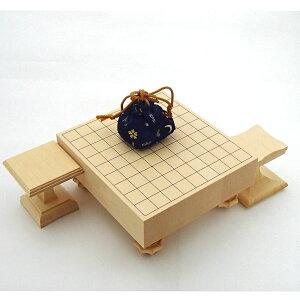 ミニチュア高級将棋セット 精巧な本格的ヒバ15号足付将棋盤セット(駒台・駒袋付き)