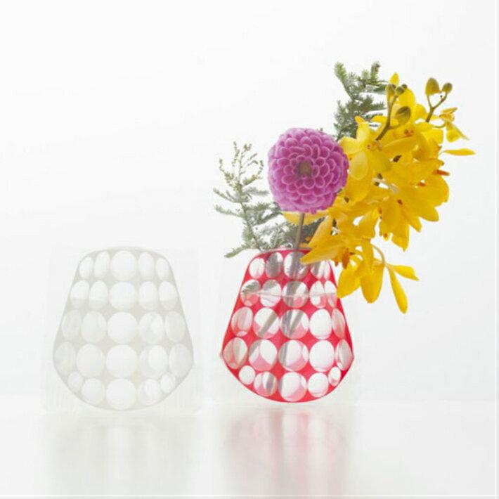 プレゼント交換【D-BROS】フラワーベースミニ レッド&ホワイト (2枚入り) 花瓶 ネコポス便(378円)利用可能 プチギフト