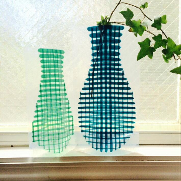 【D-BROS】フラワーベース 手書き グリッド (2サイズ2枚入り) 花瓶 ネコポス便(378円)利用可 プチギフト