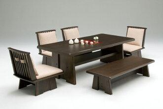 Premium Dining Set 6 Point Bench Rotation Six Chairs Table Japanese Natural Wood Oak Shelf Width 180 Cm 150 Depth 90