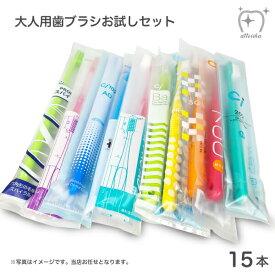最安値挑戦中 お試しセット メール便送料無料 大人用おまかせ歯ブラシ 15本セット むし歯 歯周病 歯肉炎 口臭予防に