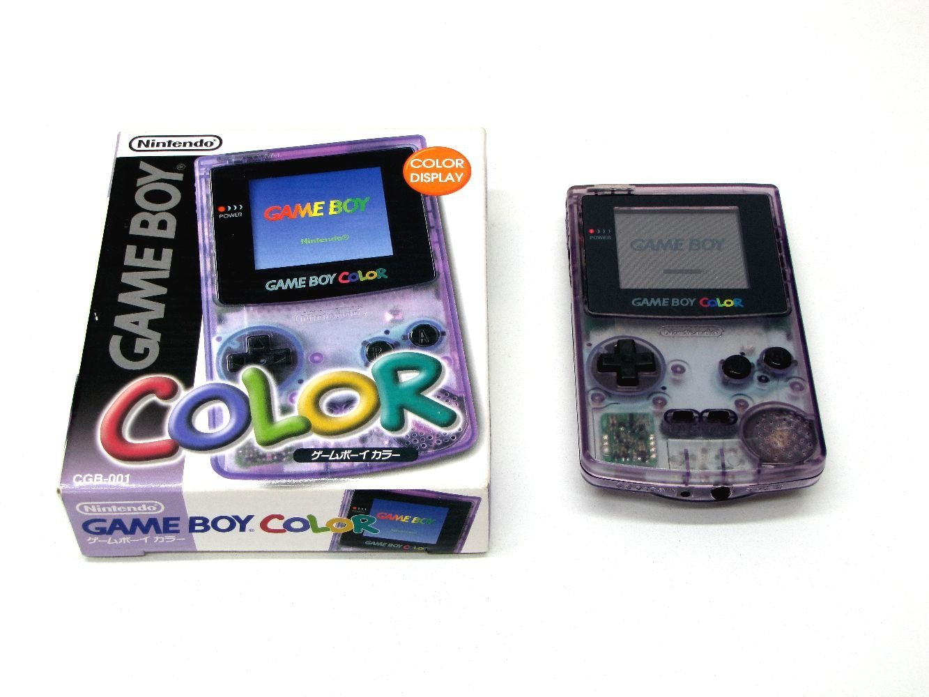 GBC ゲームボーイカラー ゲームボーイ カラー クリアパープル 本体 完品 外箱付き Nintendo 任天堂 ニンテンドー 中古 4902370503739 送料無料 【中古】