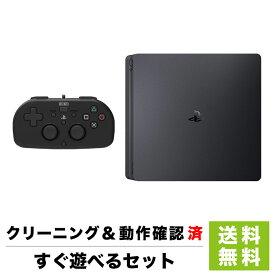 PS4 ホリ製 新品互換コントローラー ワイヤードコントローラー ブラック付き 2000AB 500GB ジェット・ブラック 本体 すぐ遊べるセット プレステ4 PlayStation4 SONY ソニー【中古】