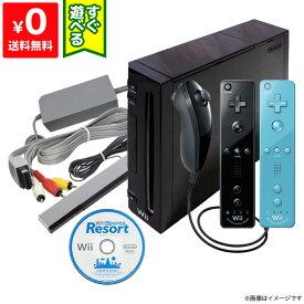Wii ニンテンドーWii 本体 (クロ) Wiiリモコンプラス2個 ヌンチャク Wiiスポーツリゾート同梱 本体 すぐ遊べるセット Nintendo 任天堂 4902370518986【中古】