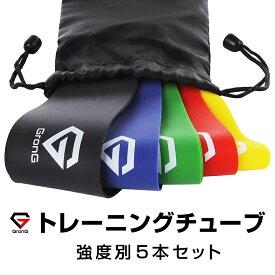 GronG(グロング) エクササイズバンド トレーニングチューブ 美尻トレーニング ゴムバンド トレーニング ミニバンド フィットネス 強度別5本セット 収納袋付き