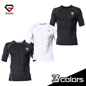 GronG(グロング) コンプレッション インナー 半袖 ウェア メンズ アンダーシャツ スポーツシャツ UPF50+