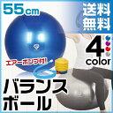 GronG バランスボール ヨガボール エクササイズボール 55cm アンチバースト 耐荷重250kg 空気入れ フットポンプ付き