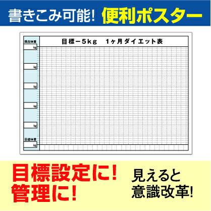 ポスター グラフ ダイエット -5kg 目標 日付無 (B2サイズ 515×728mm)