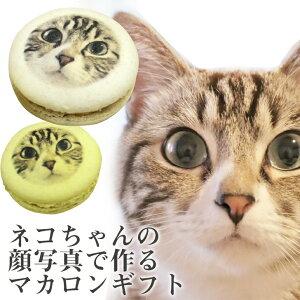 あなたの愛猫 写真で作る にゃん顔マカロン 5個入 フェイスマカロン [ ねこ ネコ ペット ギフト プレゼント 贈り物 記念日 誕生日 プチギフト お菓子 面白い インスタ映え ](gift)