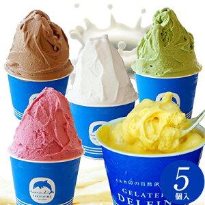 送料無料 ミックス 5個入 自然派ジェラート イルカ印のジェラテリアデルフィーノ プレゼント ギフト アイスクリーム アイス セット 詰め合わせ お取り寄せスイーツ おいしい 美味しい もの