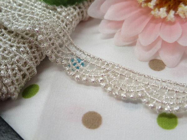 ☆NEW☆木馬MOKUBA メタリックケミカルレース61705 ホワイトシルバー(巾約1.2cm)