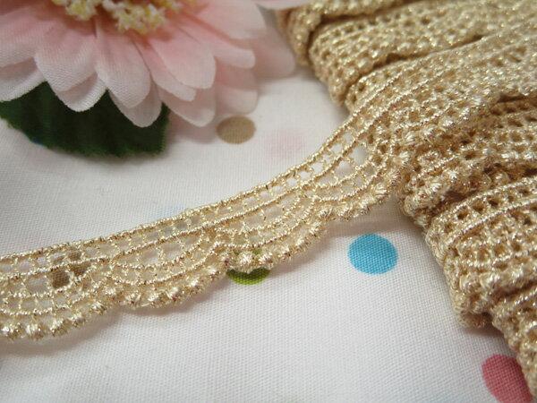 木馬MOKUBA メタリックケミカルレース61706 ホワイトゴールド(巾約1.2cm)