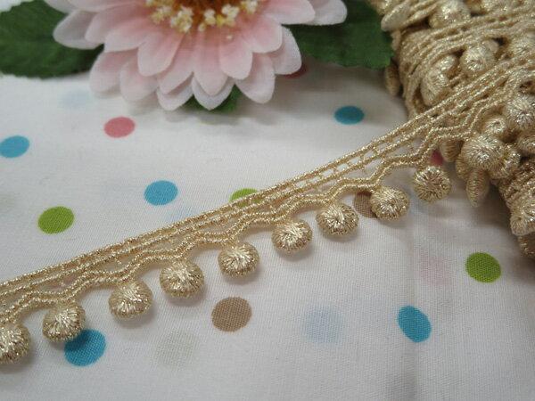 木馬MOKUBA メタリックケミカルレース61726 ホワイトゴールド(巾約1.5cm)