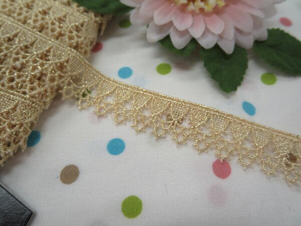 木馬MOKUBA メタリックケミカルレース61712 ホワイトゴールド(巾約1.7cm)