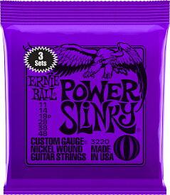 ERNIE BALL Nickel Wound Guitar Strings 3 Set Pack (#3220 POWER SLINKY)
