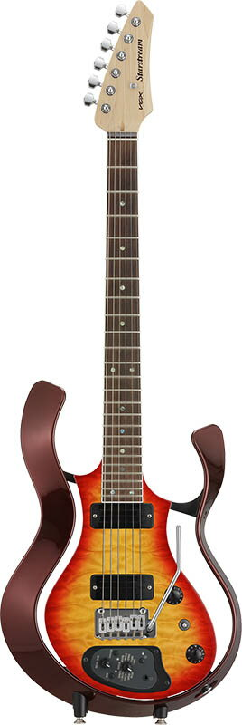 VOX Starstream Type 1-24 with Dimarzio (VSS-1-24MWRCB-Q/Metallic Wine Red Frame with Cherry Burst Quilted Maple Top)