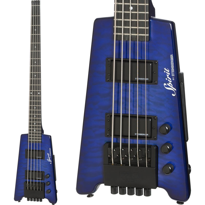 """Steinberger Spirit XT-25 """"Quilt Top"""" STANDARD 5-strings Bass (TL/Trans Blue)"""
