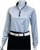 夏は半袖よりも長袖の方が涼しいAg+銀熱伝導放熱涼感ジップアップポロシャツ日本製レディース(ブルー×襟ブラック)