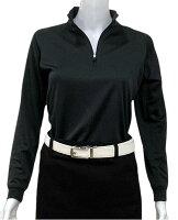 夏は半袖よりも長袖の方が涼しいAg+銀熱伝導放熱涼感ジップアップポロシャツ日本製レディース(ブラック×襟ブラック)