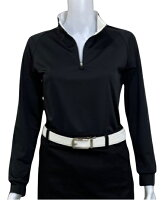 夏は半袖よりも長袖の方が涼しいAg+銀熱伝導放熱涼感ジップアップポロシャツ日本製レディース(ブラック×襟ホワイト)