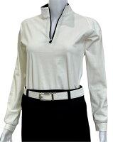 夏は半袖よりも長袖の方が涼しいAg+銀熱伝導放熱涼感ジップアップポロシャツ日本製レディース(ホワイト×襟ブラック)