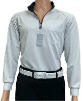 夏は半袖よりも長袖の方が涼しいAg+銀熱伝導放熱涼感ジップアップポロシャツ日本製メンズ(グレー×襟ブラック)