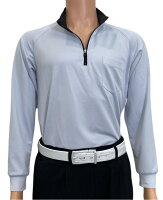 夏は半袖よりも長袖の方が涼しいAg+銀熱伝導放熱涼感ジップアップポロシャツ日本製メンズ(ブルー×襟ブラック)